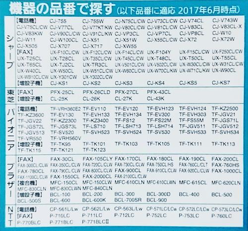 BK-T316対応電話機リスト