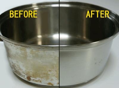 鍋の汚れ落としビフォアーアフター