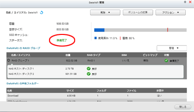 QNAP HDD交換 準備完了